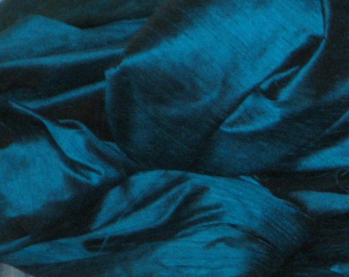 Peacock Teal Blue 100% Dupioni Silk Fabric Wholesale Roll/ Bolt