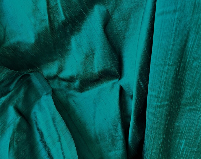 """Peacock Teal Blue Green 100% dupioni silk fabric yardage By the Yard 45"""" wide FREE USA SHIPPING at 35"""