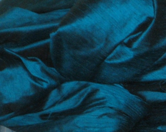 """Peacock Teal Blue 100% dupioni silk fabric yardage By the Yard 45"""" wide FREE USA SHIPPING at 35"""