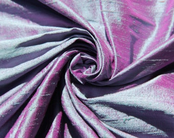 "Blue Fuchsia Pink iridescent 100% dupioni silk fabric yardage By the yard 45"" wide FREE SHIPPING"