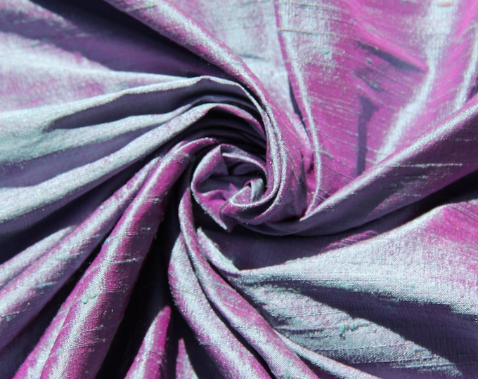 """Blue Fuchsia Pink iridescent 100% dupioni silk fabric Sold out Now will ship midJuly yardage By the yard 45"""" wide FREE USA SHIPPING at 35"""