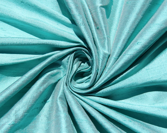 "Robin's egg blue 100% dupioni silk fabric yardage By the Yard 45"" wide FREE SHIPPING"