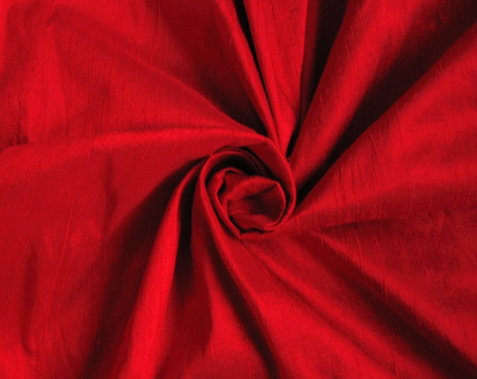 "Red 100% dupioni silk fabric yardage By the Yard 45"" wide FREE SHIPPING"
