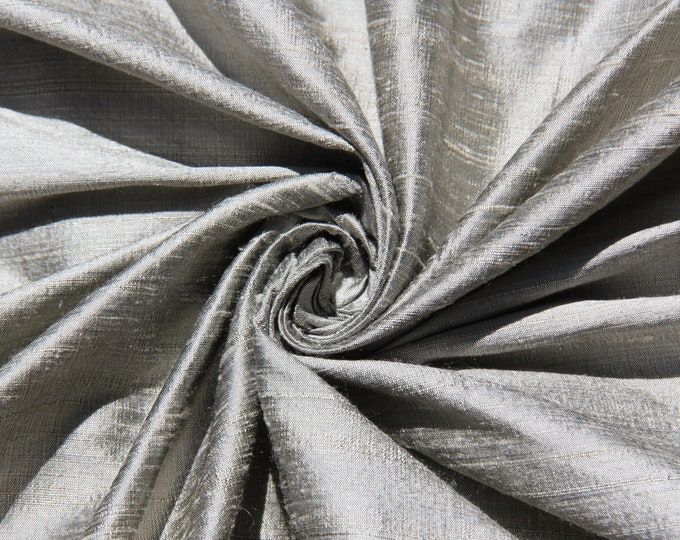 "Pewter 100% dupioni silk fabric yardage By the Yard 45"" wide"