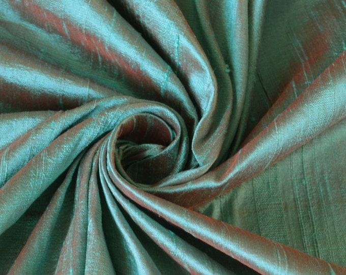 "Robin's Egg Blue Red Orange iridescent 100% dupioni silk fabric yardage By the yard 45"" wide"