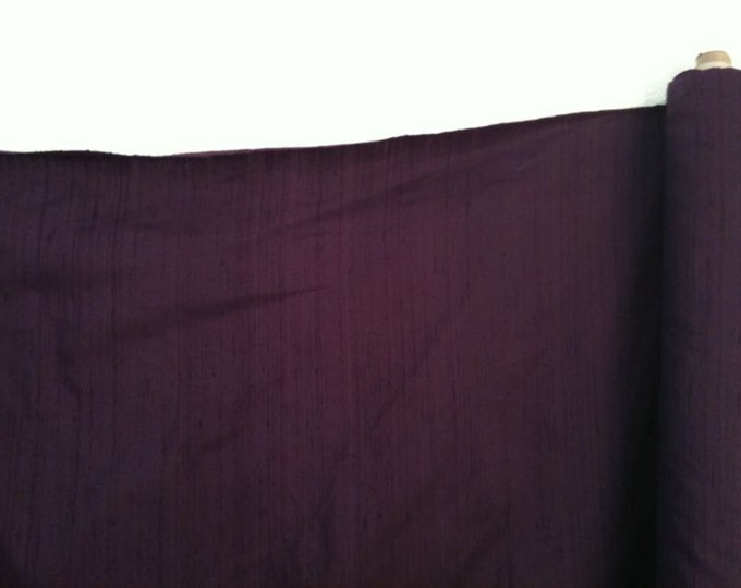 "Eggplant Purple 100% dupioni silk fabric yardage By the Yard 45"" wide FREE SHIPPING"