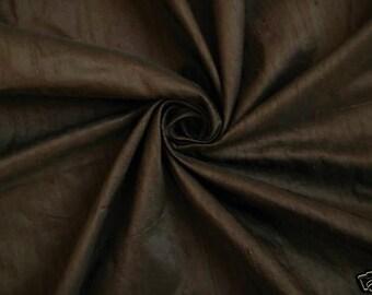 "Chocolate Brown 100% dupioni silk fabric yardage By the Yard 45"" wide FREE SHIPPING"