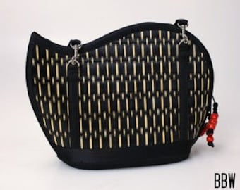 Handmade black purse woven grass not bamboo wave shape crossbody or over the shoulder BBW