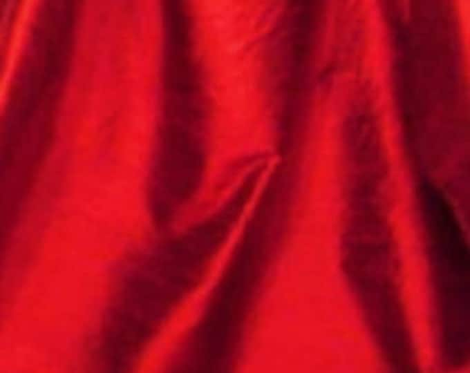 "Ruby Red iridescent 100% dupioni silk fabric yardage By the Yard 45"" wide"