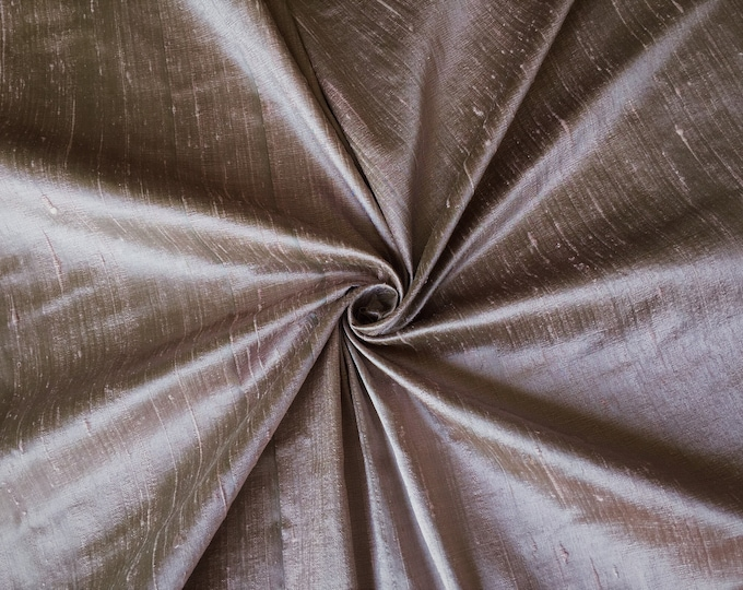 "Taupe Pink Green 100% dupioni silk fabric yardage By the Yard 45"" wide FREE USA SHIPPING at 35"