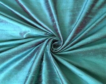 "Turquoise Burgundy iridescent 100% dupioni silk fabric yardage By the yard 45"" wide FREE USA SHIPPING at 35"