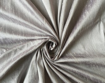 """Silver 100% dupioni silk fabric By the Yard 45"""" wide FREE USA SHIPPING at 35"""
