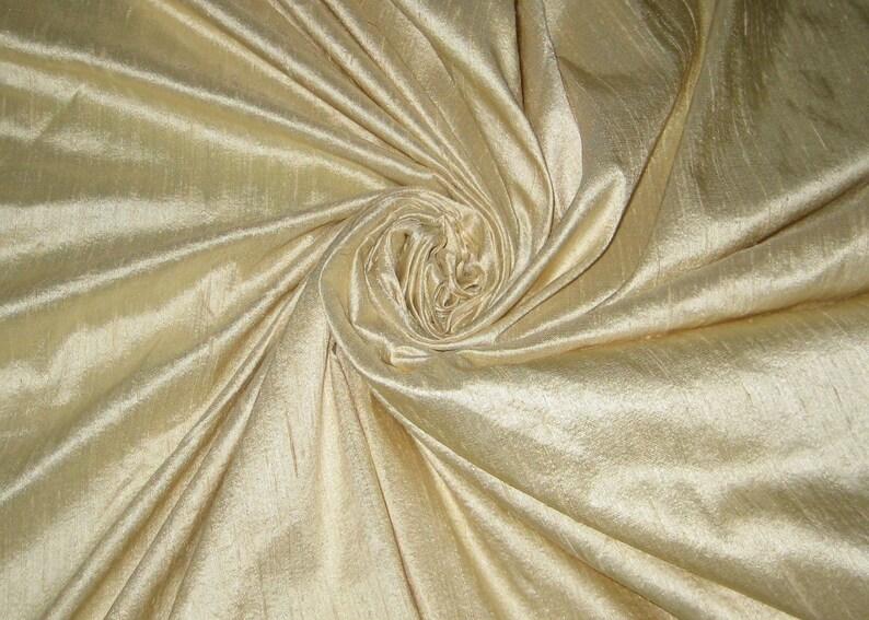 Light Cream or Beige 100% dupioni silk fabric yardage By the image 0