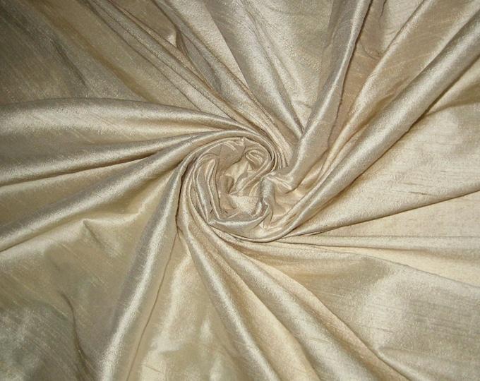"Dark Ivory Beige bridal 100% dupioni silk fabric yardage By the Yard 45"" wide FREE USA SHIPPING at 35"