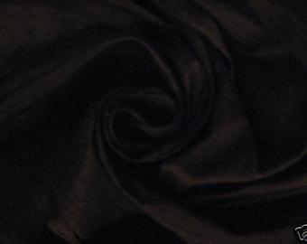 "Midnight Black 100% dupioni silk fabric yardage By the Yard 45"" wide FREE USA SHIPPING at 35"