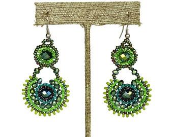 Hand beaded green earrings crystalicious #109