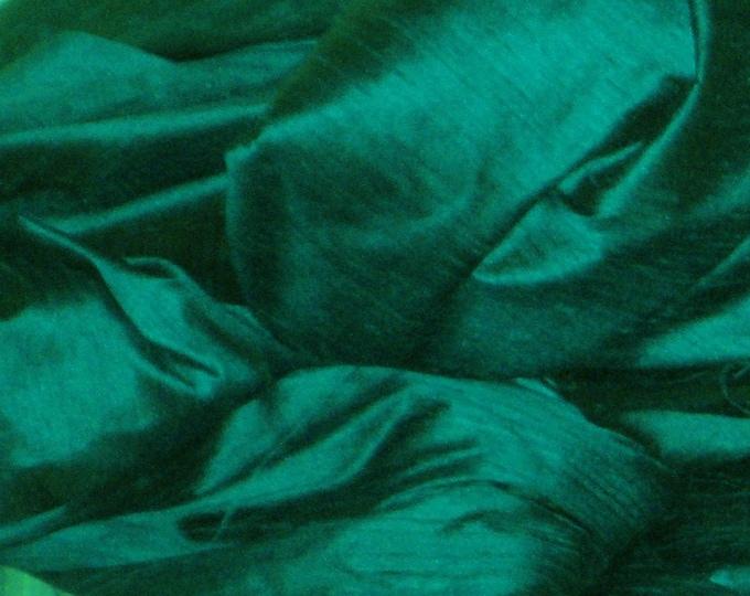 "Peacock Teal Green 100% dupioni silk fabric yardage By the Yard 45"" wide FREE USA SHIPPING at 35"