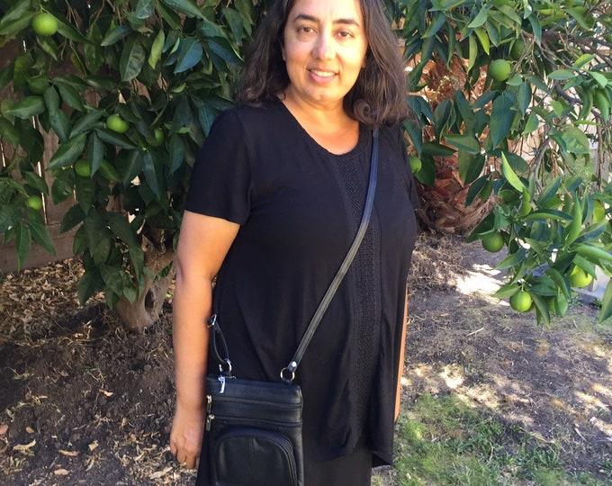 Leather black purse bag Leather purse crossbody fully adjustable strap