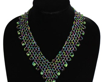 Hand beaded purple green lattice necklace, magnetic clasp, 19 inches #105