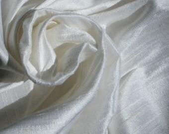 "Pure White 100% dupioni silk fabric yardage By the Yard 45"" wide"