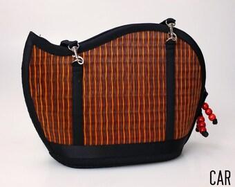 Handmade rust purse woven grass not bamboo wave shape crossbody or over the shoulder CAR