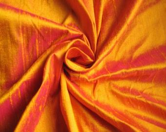 "Gold Fuchsia iridescent 100% dupioni silk fabric yardage By the Yard 45"" wide"