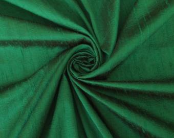 "Emerald Green 100% dupioni silk fabric yardage By the Yard 45"" wide FREE USA SHIPPING at 35"