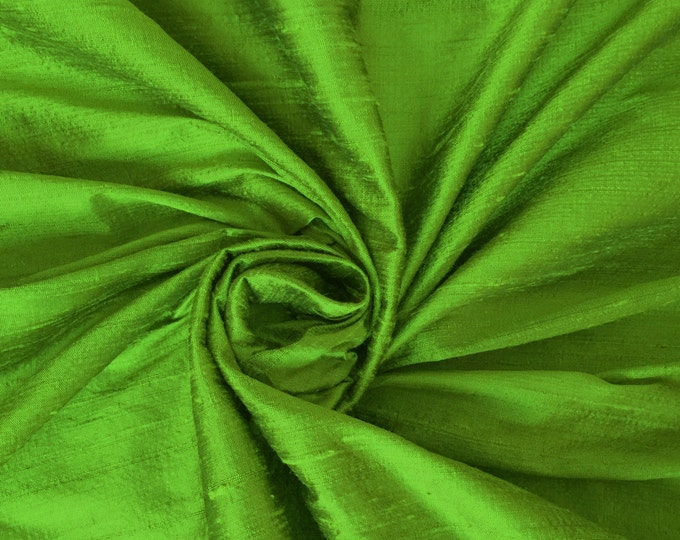 """Parrot Green 100% dupioni silk fabric yardage By the Yard 45"""" wide FREE USA SHIPPING at 35"""