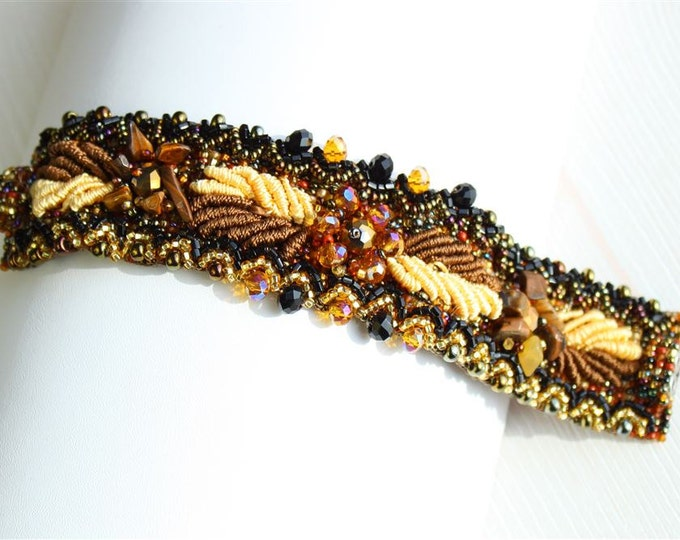 Hand beaded earth tones bracelet, double magnetic clasp, weaving leaves bronze brown 7 inches #103