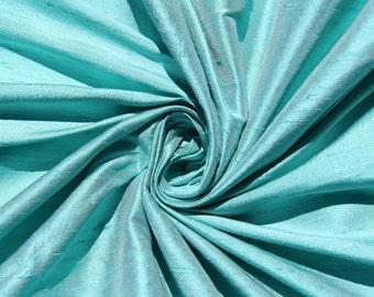 "Robin's egg blue 100% dupioni silk fabric yardage By the Yard 45"" wide FREE USA SHIPPING at 35"