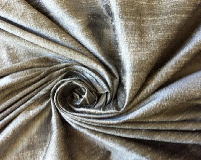 "Gray grey 100% dupioni silk fabric yardage By the Yard 45"" wide"