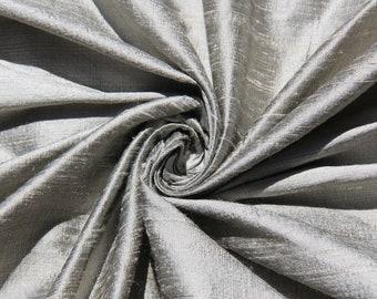 "Pewter 100% dupioni silk fabric yardage By the Yard 45"" wide FREE USA SHIPPING at 35"