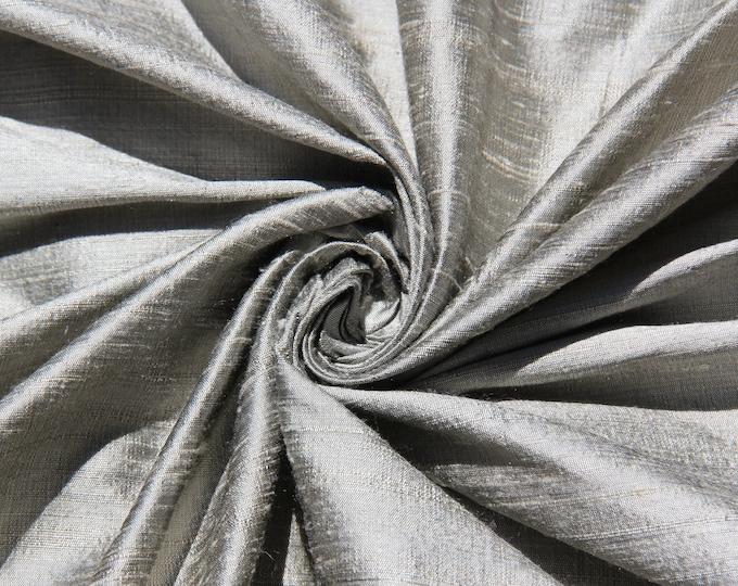 "Pewter 100% dupioni silk fabric yardage By the Yard 45"" wide"