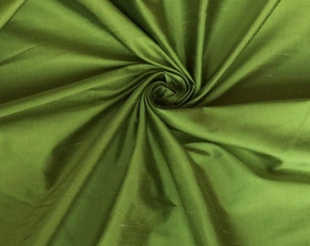 "Lime Green 100% Shantung silk yardage By the yard 55"" wide"