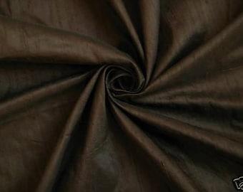 "Chocolate Brown 100% dupioni silk fabric yardage By the Yard 45"" wide FREE USA SHIPPING at 35"