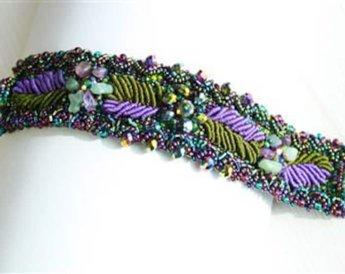 Hand beaded purple green bracelet, double magnetic clasp, weaving leaves 7 inches