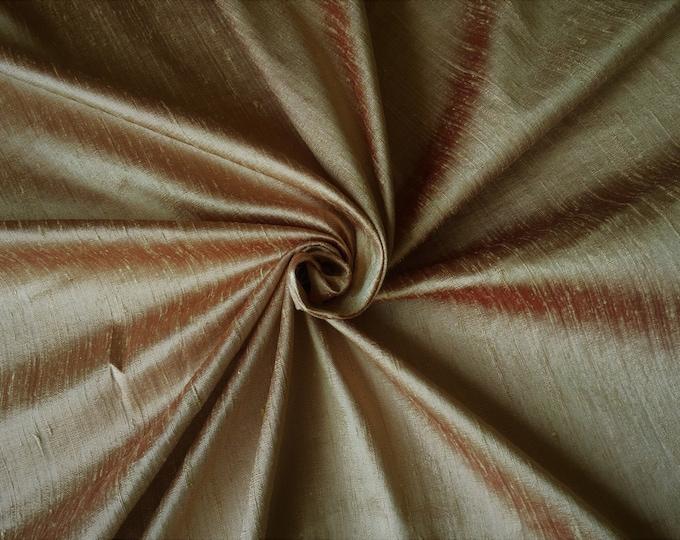 "Tan Red 100% dupioni silk fabric yardage By the Yard 45"" wide FREE USA SHIPPING at 35"