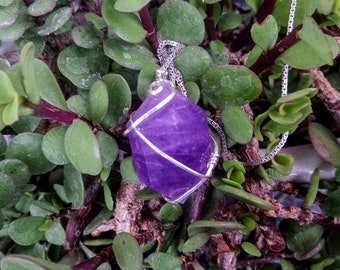 Silver Wrapped Amethyst Crystal Amulet