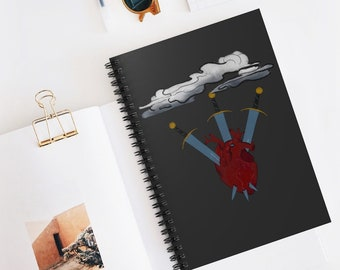 Three of Swords Tarot Card Cover Design Spiral Notebook - Ruled Line