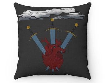 Three of Swords Dark Grey Spun Polyester Square Pillow