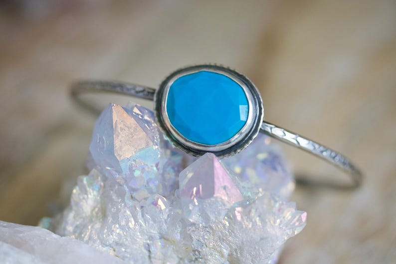 Natural Turquoise Rose Cut Turquoise Sterling Silver Cuff image 0