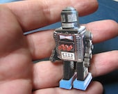 japanese toy robot pin brooch, roto robot