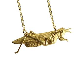 patience, grasshopper necklace - brass bug jewelry