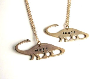 READ or BOOKS dinosaur necklace - hand stamped apatosaurus brontosaurus jewelry