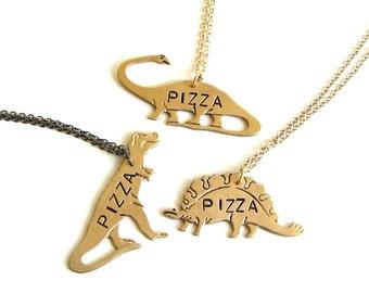 dinosaur pizza necklace - trex, stegosaurus OR brontosaurus . hand stamped, pick your pizzasaurus