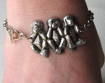 monkey bracelet - 3 wise monkeys