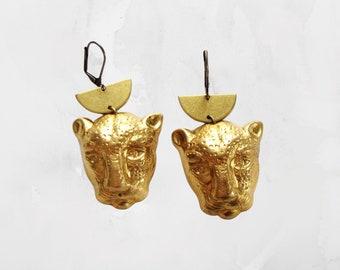 golden leopard / cheetah earrings, vintage brass on lever backs