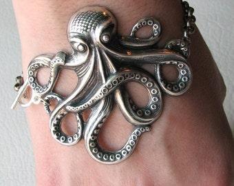 octopus bracelet, silver, american made