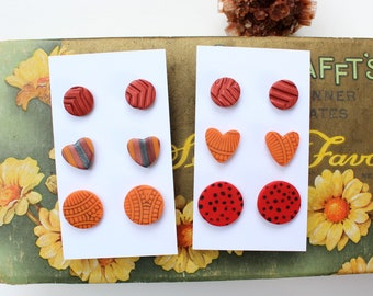 autumn fall colors stud pack, small polymer clay earrings - CHOOSE your set, orange and red