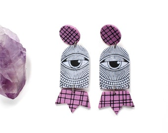 lightweight eyeball earrings, all seeing eye, pink and speckled white with grid lines, hypoallergenic posts dangles